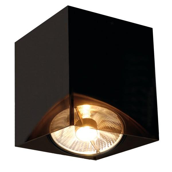 ACRYLBOX SINGLE ES111 Decken- leuchte, eckig, schwarz/trans- luzent, max. 1x75W
