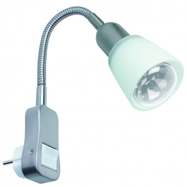 Assistent Flexus II Steckerleuchte max.1x40W E14 Eisen geb/Opal 230V Metall/Glas