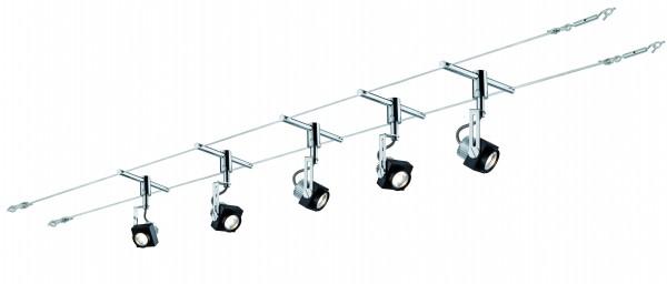Wire System Phase 5x5W Schwarz/Chrom 230/12V 36VA Metall