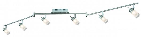 Spotlights ZyLed Stange 6x3W Eisen gebürstet 230V/12V Metall/Glas