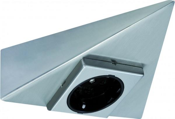 Möbel Aufbausteckdose 3-eckig Eisen gebürstet/Metall