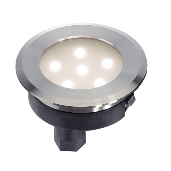 DASAR FLAT LED Bodeneinbau- strahler, Edelstahl 304 gebÙr- stet, 0,8W, warmweiss, IP67