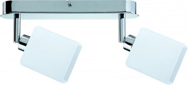 Spotlights Quad LED Balken 2x3W GZ10 230V Chrom/Weiß Metall/Glas