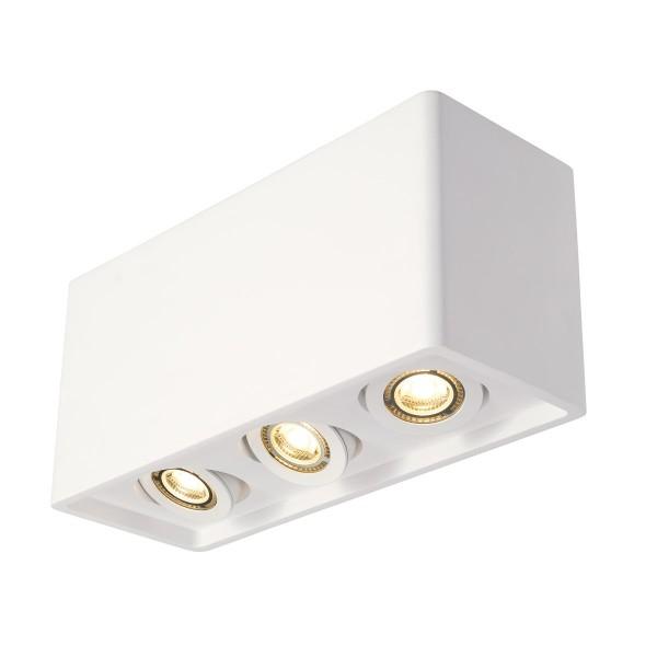 PLASTRA BOX 3 Deckenleuchte, eckig, weisser Gips, 3xGU10, max. 35W